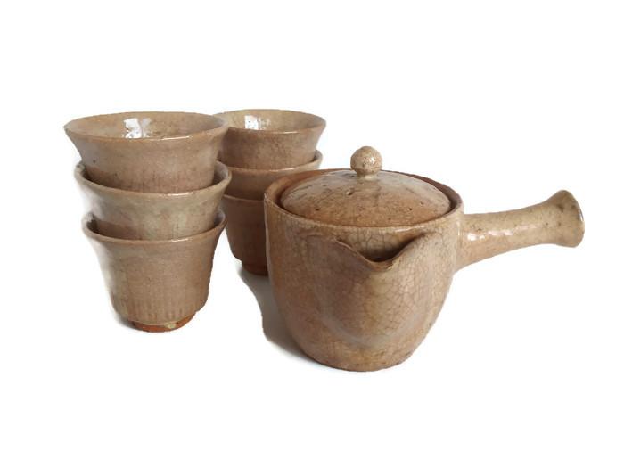 Čajový keramický set Hagi oya s krakelem