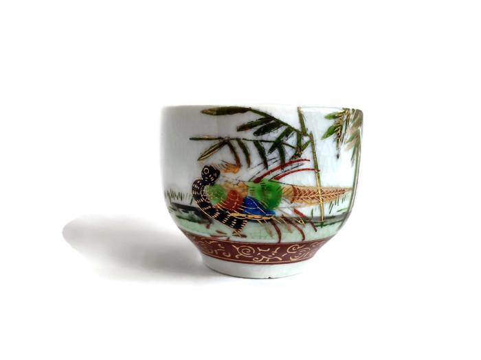 Keramická miska krakelovaná s bažantem a bambusy