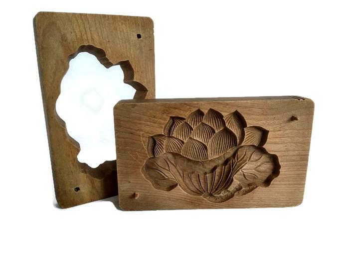 Wagashi forma ze dřeva velký lotos